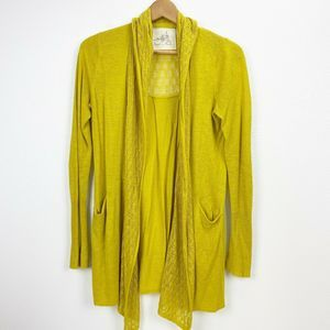 Anthropologie Mustard Yellow Lace Knit Cardigan